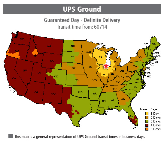 UPS Ground transit times from Niles - Chicago