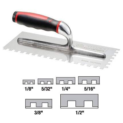 DTA Square Notched Stainless Steel Adhesive Trowel SSTR3