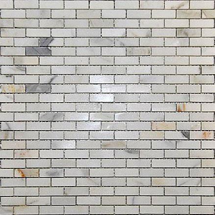 Mini Brick Calacatta Polished Marble Mosaic Tile
