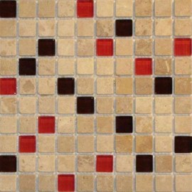 1x1 Travertine Glass Mix Red and Dark Brown Mosaic Tile