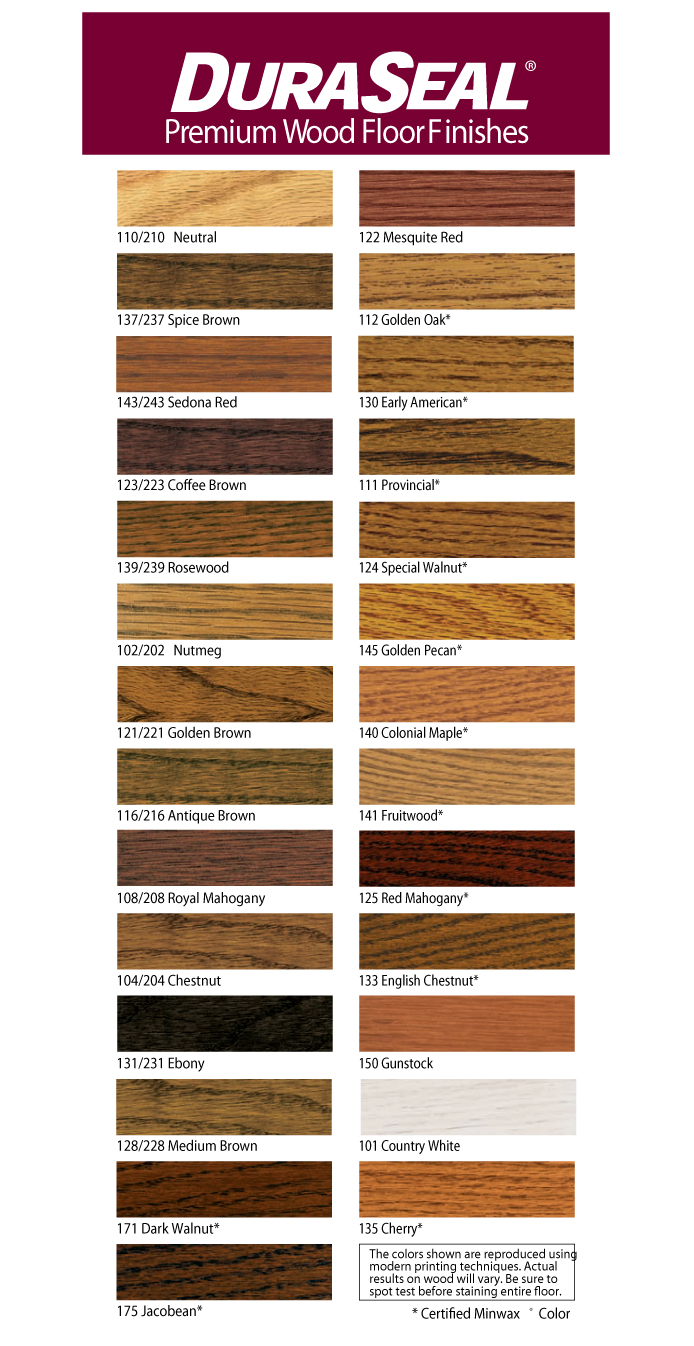 Duraseal Penetrating Finish Color Chart
